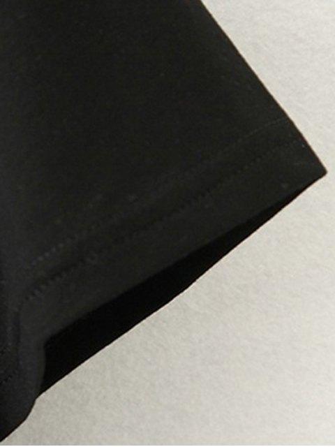 trendy Tassels Spliced Round Collar Short Sleeve T-Shirt - BLACK S Mobile