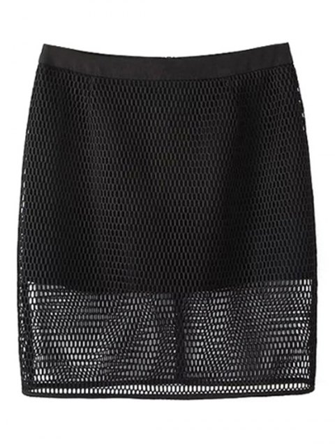 latest Solid Color High Waisted Mesh Skirt - BLACK M Mobile