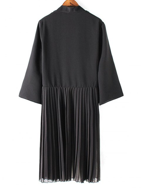 fancy Tassels Spliced 3/4 Sleeve Solid Color Coat - BLACK L Mobile