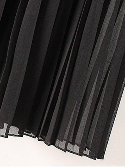 fancy Tassels Spliced 3/4 Sleeve Solid Color Coat - BLACK L Mobile