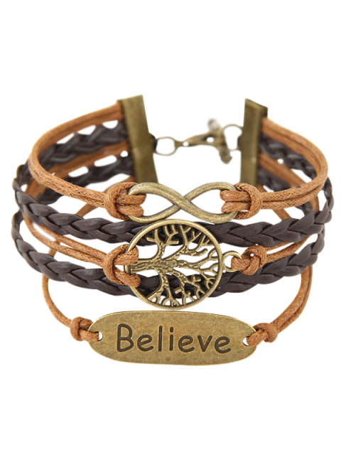 chic Tree of Life Braided Bracelet - BROWN  Mobile