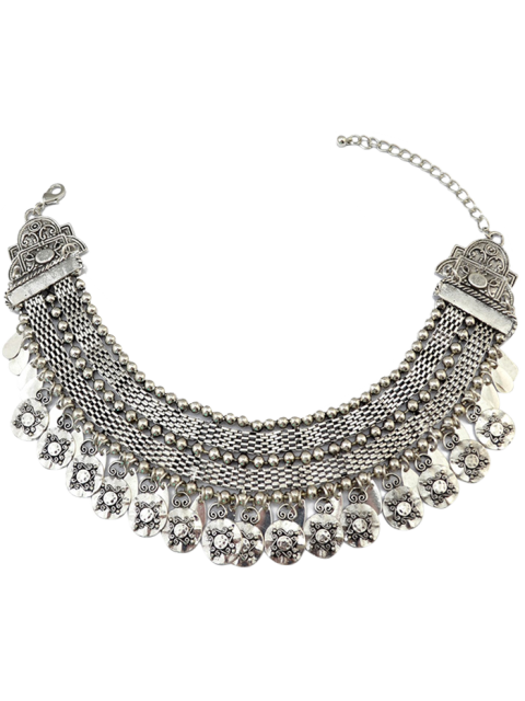 latest Coin Fringed Metal Choker - SILVER  Mobile