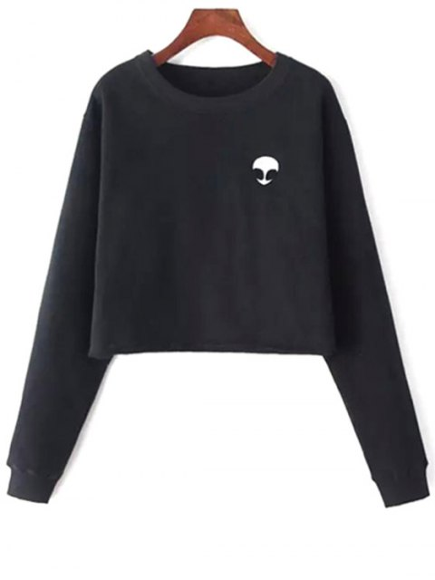 best Alien Embroidered Cropped Sweatshirt - BLACK ONE SIZE(FIT SIZE XS TO M) Mobile