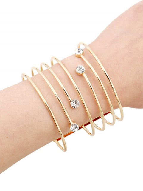 fancy Rhinestone Hollow Out Bracelets - GOLDEN  Mobile