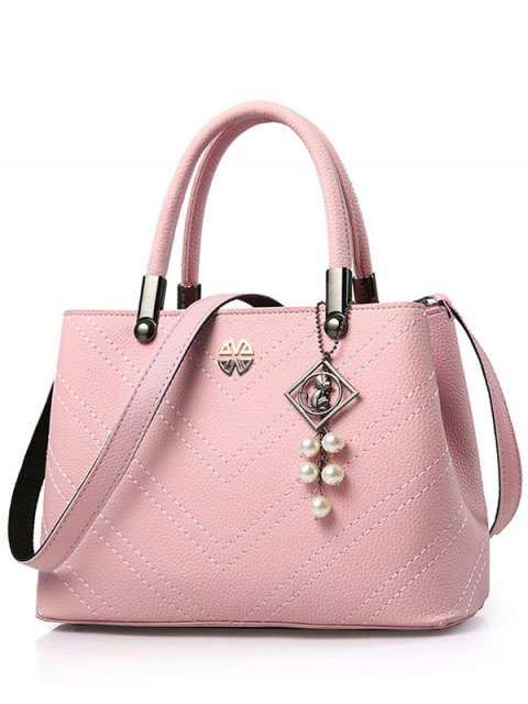 shops Pendant Stitching PU Leather Tote Bag - PINK  Mobile
