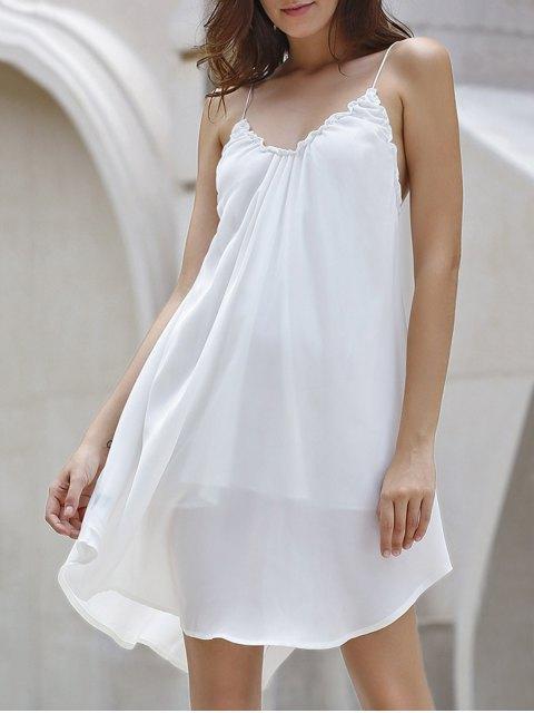 unique Backless Solid Color Spaghetti Straps Dress - OFF-WHITE S Mobile