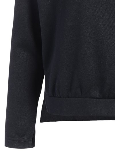 Zipped Neckline Hoodie - BLACK 2XL Mobile