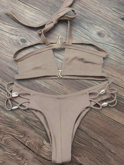 Strappy Cut Out Halter Bikini - APRICOT S Mobile