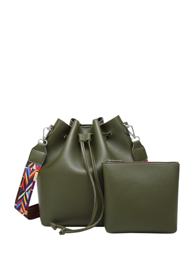 Drawstring Bucket Bag With Coin Purse - ARMY GREEN  Mobile