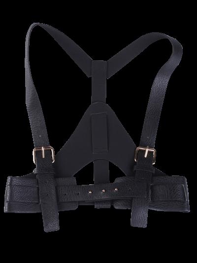 Faux Leather Belt Suspenders - BLACK  Mobile