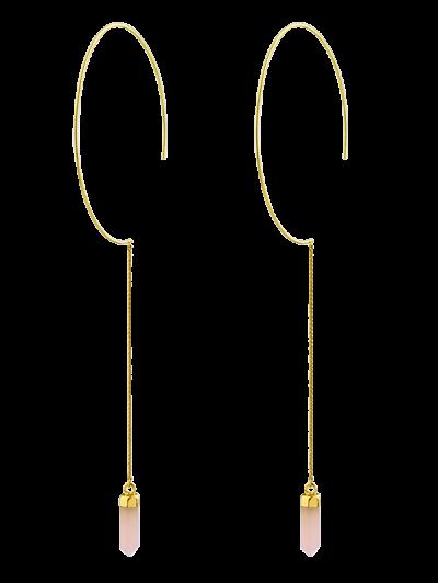 Natural Stone Bullet Earrings - PINK  Mobile