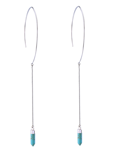 Bullet Artificial Turquoise Earrings - BLUE GREEN  Mobile