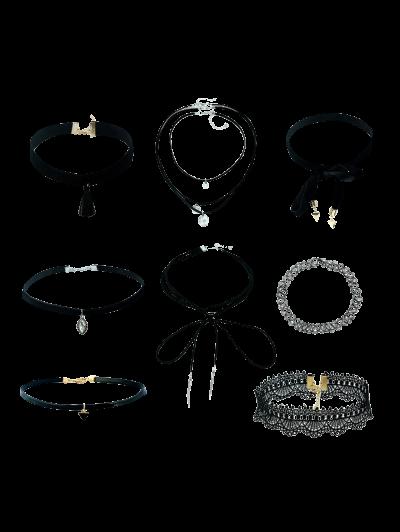 Tassel Velvet Lace Geometric Necklaces - BLACK  Mobile