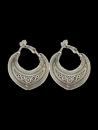 Etched Moon Hoop Earrings - SILVER  Mobile