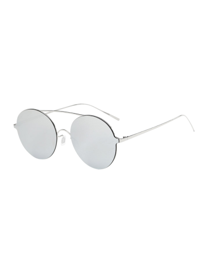 Crossbar Metal Round Mirrored Sunglasses - SILVER  Mobile