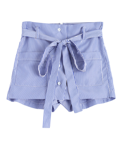 Belted Striped Shorts - STRIPE XS Mobile