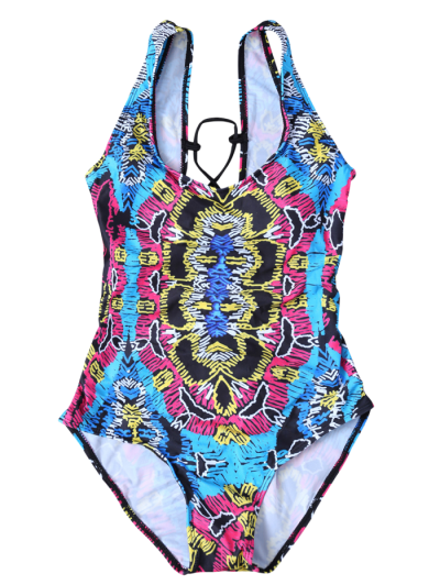 High Leg Printed Tummy Control Swimsuit - MULTICOLOR XL Mobile