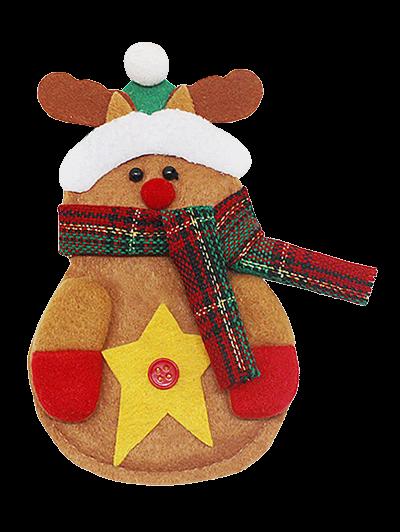 Merry Christmas Deer Shape Tableware Cover Bag - YELLOW  Mobile