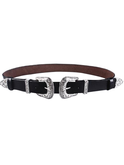 Cameo Double Buckle Faux Leather Belt - BLACK  Mobile