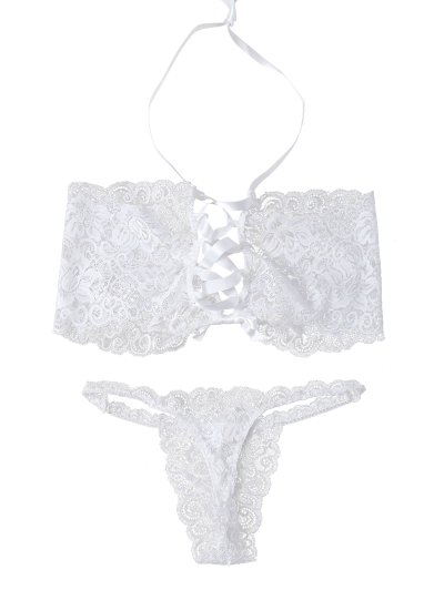 Unlined Lace Bandeau Bra and Panty - WHITE L Mobile