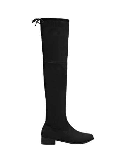 Flat Heel Zip Tie Up Thigh Boots - BLACK 37 Mobile