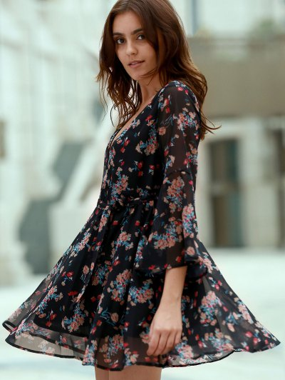 Flare Sleeve Floral Chiffon Dress - Black S