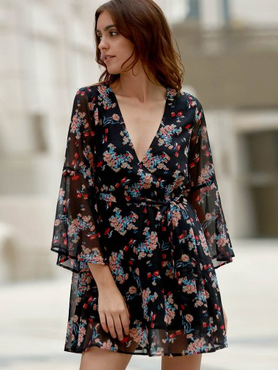 Flare Sleeve Floral Chiffon Dress - BLACK S Mobile