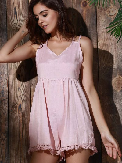 Tassels Backless Spaghetti Straps Playsuit - PINK S Mobile