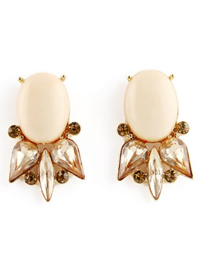 Pair of Faux Gem Embellished Earrings - COLORMIX  Mobile