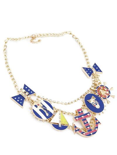 Anchor Bow Skull Statement Necklace - GOLDEN  Mobile