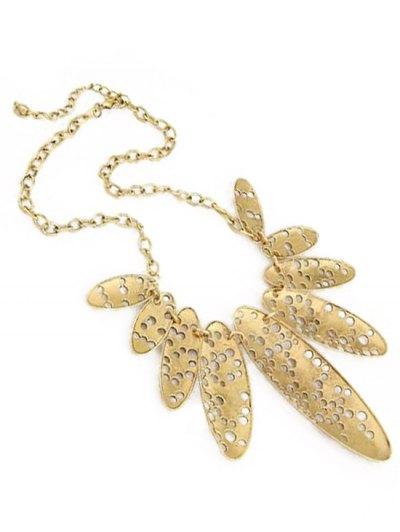 Hollow Out Ellipse Shape Retro Style Necklace - GOLDEN  Mobile
