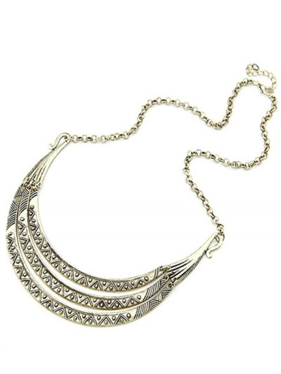 Tribal Style Carve Pendant Alloy Necklace - LIGHT GOLD  Mobile