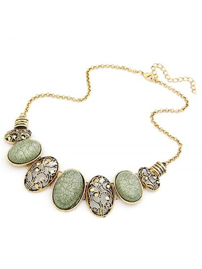 Tribal Style Faux Gem Statement Necklace - GREEN  Mobile
