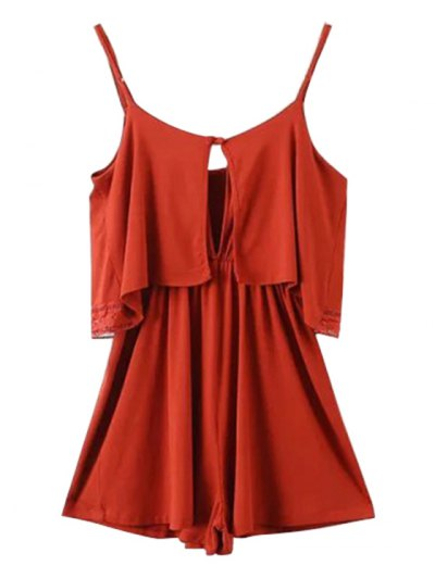 Lace Band Collarless Braces Playsuit - RED XS Mobile