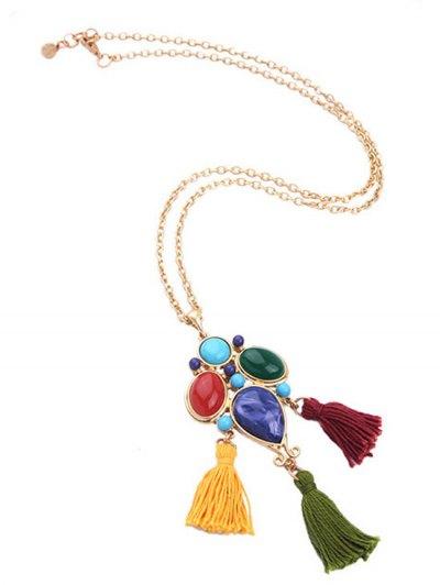 Faux Gem Tassel Pendant Necklace - GOLDEN  Mobile