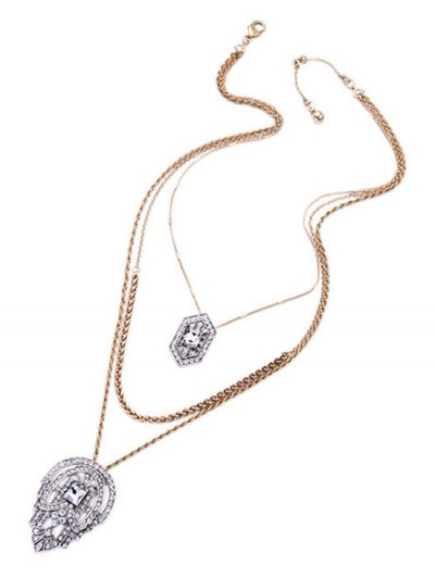 Rhinestone Water Drop Multilayered Pendant Necklace - GOLDEN  Mobile