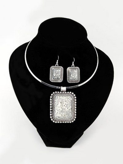 Retro Rectangle Turquoise Necklace and Earrings - GRAY  Mobile