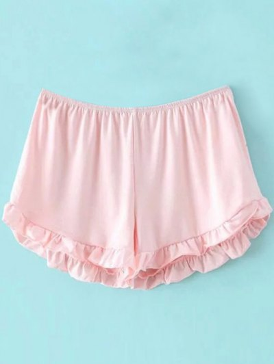 Solid Color Trimming Elastic Waist Shorts - Pink One Size(fit Size Xs To M)