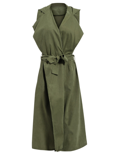 Lapel Belted Overlay Waistcoat - ARMY GREEN XL Mobile
