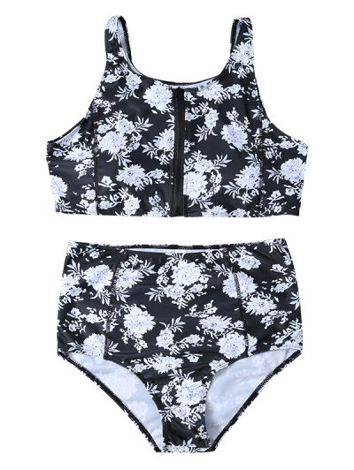 Full Zip Floral Bikini Set - BLACK XL Mobile
