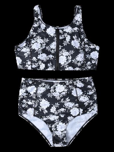 Full Zip Floral Bikini Set - BLACK M Mobile