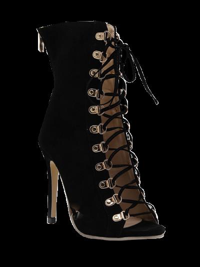 Tie Up Black Stiletto Heel Peep Toe Shoes - BLACK 40 Mobile