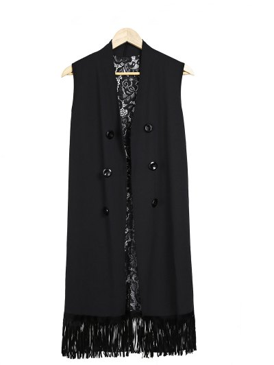 Lace Splice Black Collarless Waistcoat - BLACK ONE SIZE(FIT SIZE XS TO M) Mobile