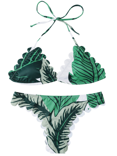 Halter Scalloped Printed Bikini - GREEN L Mobile