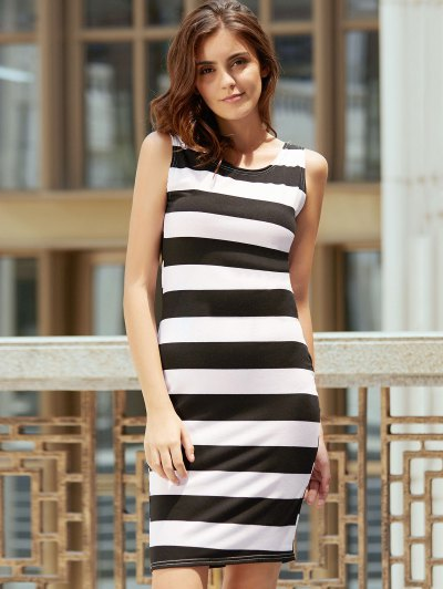 Backless Striped Sheath Dress - WHITE AND BLACK S Mobile