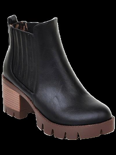 Stitching Elastic Band Platform Ankle Boots - BLACK 39 Mobile