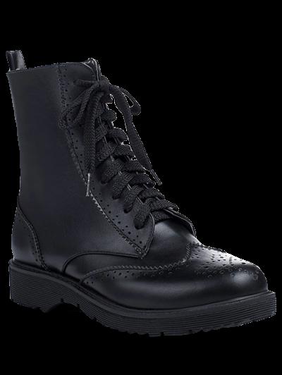 Engraving Tie Up Flat Heel Short Boots - BLACK 37 Mobile