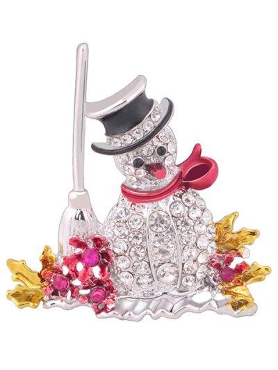 Rhinestone Embellished Christmas Snowman Brooch - WHITE  Mobile