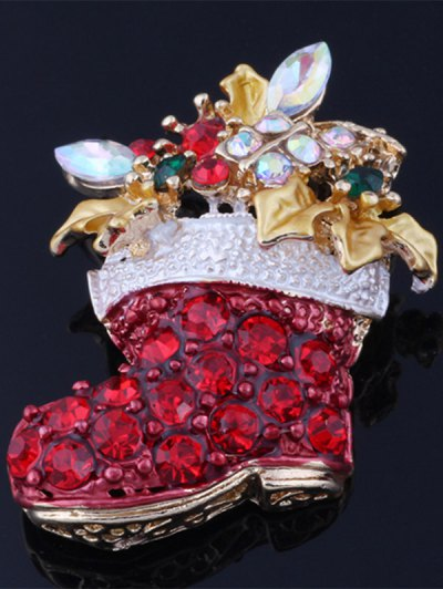 Rhinestone Adorn Christmas Boots Brooch - RED  Mobile