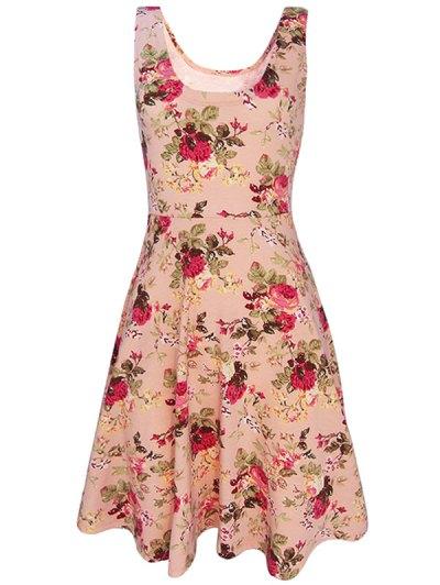 Sleeveless Chiffon Flroal Dress - PINK M Mobile